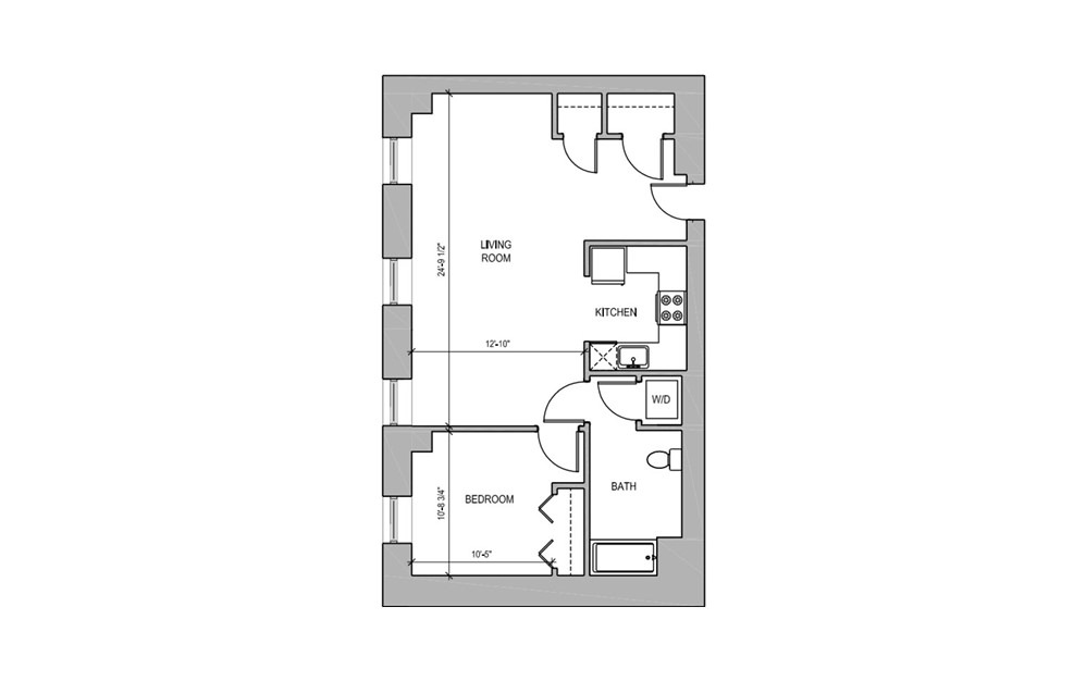 HC102 - 1 bedroom floorplan layout with 1 bath and 723 square feet.