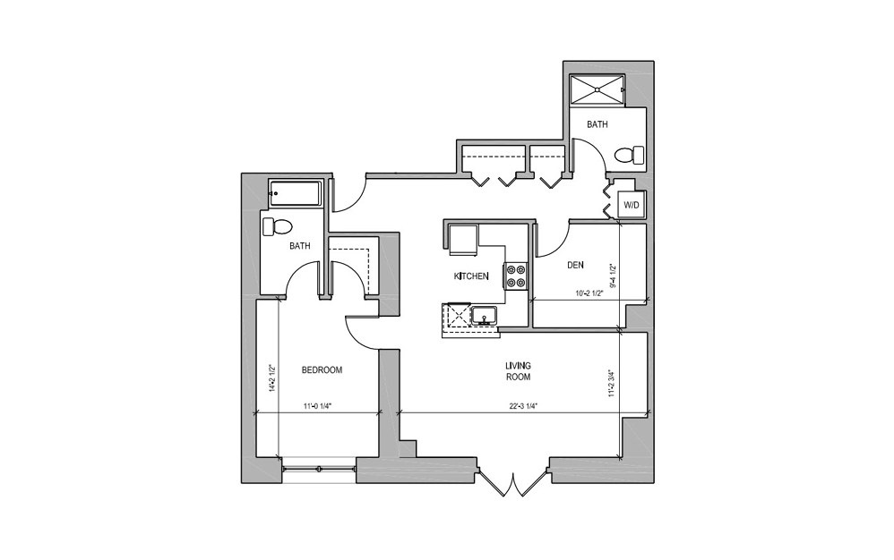 HC104 - 1 bedroom floorplan layout with 2 baths and 923 square feet.
