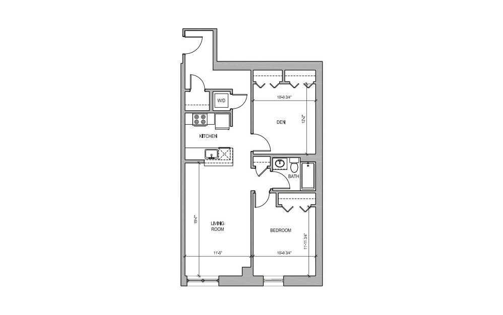 HC108 - 1 bedroom floorplan layout with 1 bath and 843 square feet.