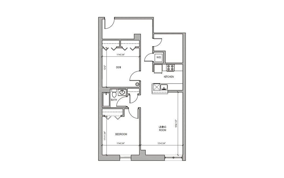 HC110 - 1 bedroom floorplan layout with 1 bath and 1017 square feet.