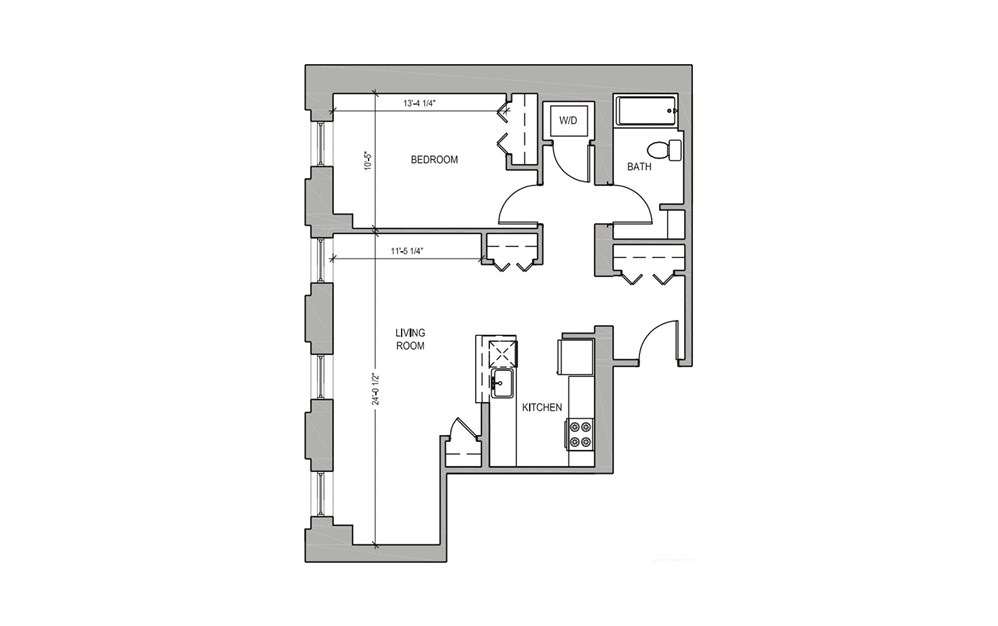 HC202 - 1 bedroom floorplan layout with 1 bath and 700 square feet.