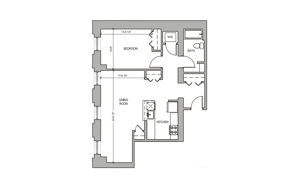 HC203 - 1 bedroom floorplan layout with 1 bath and 770 square feet.
