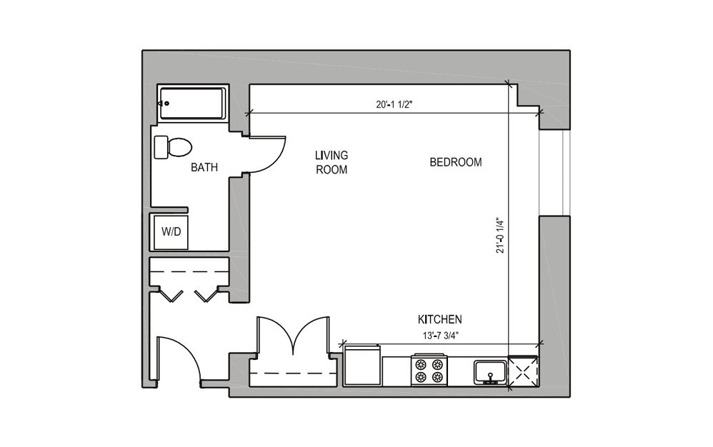 HC205 - Studio floorplan layout with 1 bath and 573 square feet.
