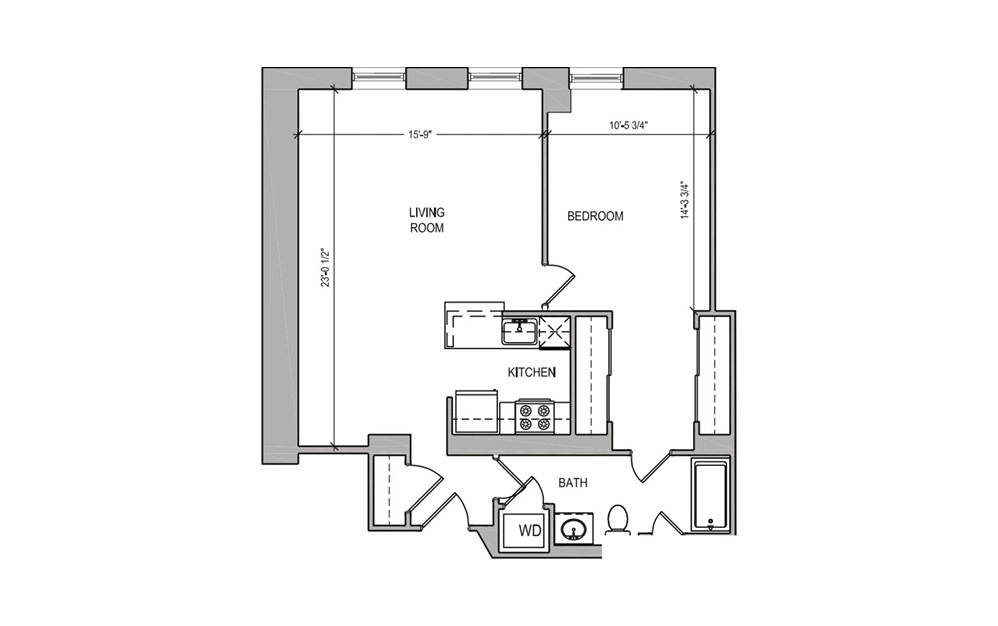 HC207 - 1 bedroom floorplan layout with 1 bath and 714 square feet.