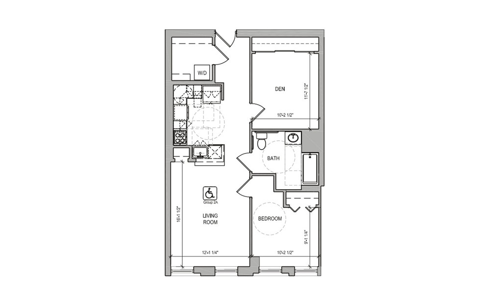 HC208 - 1 bedroom floorplan layout with 1 bath and 806 square feet.