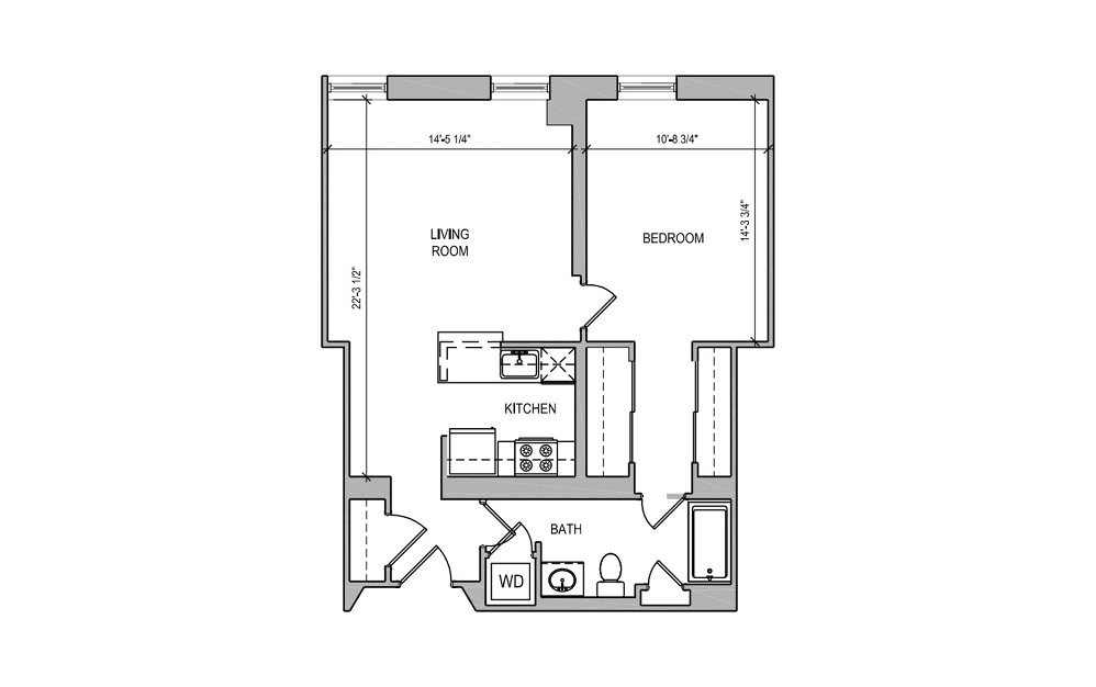 HC209 - 1 bedroom floorplan layout with 1 bath and 712 square feet.