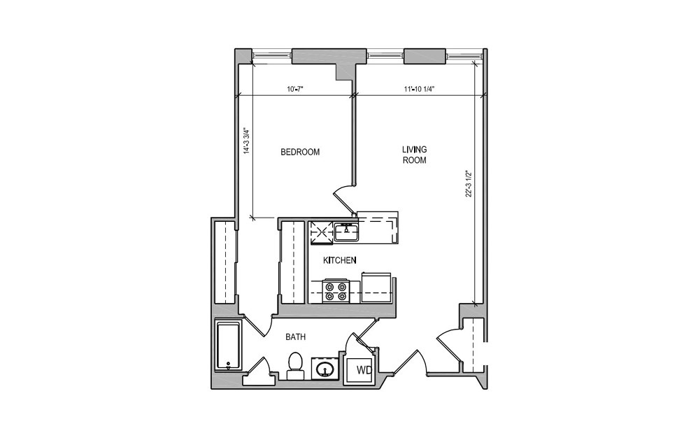 HC211 - 1 bedroom floorplan layout with 1 bath and 712 square feet.