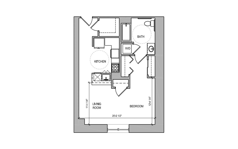 HC304 - Studio floorplan layout with 1 bath and 578 square feet.