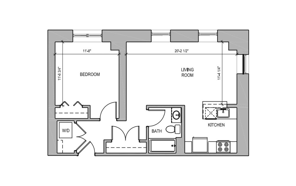HC305 - 1 bedroom floorplan layout with 1 bath and 678 square feet.