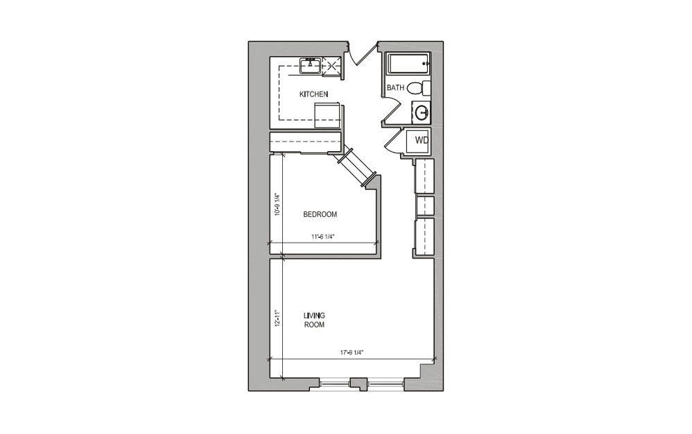 HC Studio/Alcove - Studio floorplan layout with 1 bath and 636 square feet.