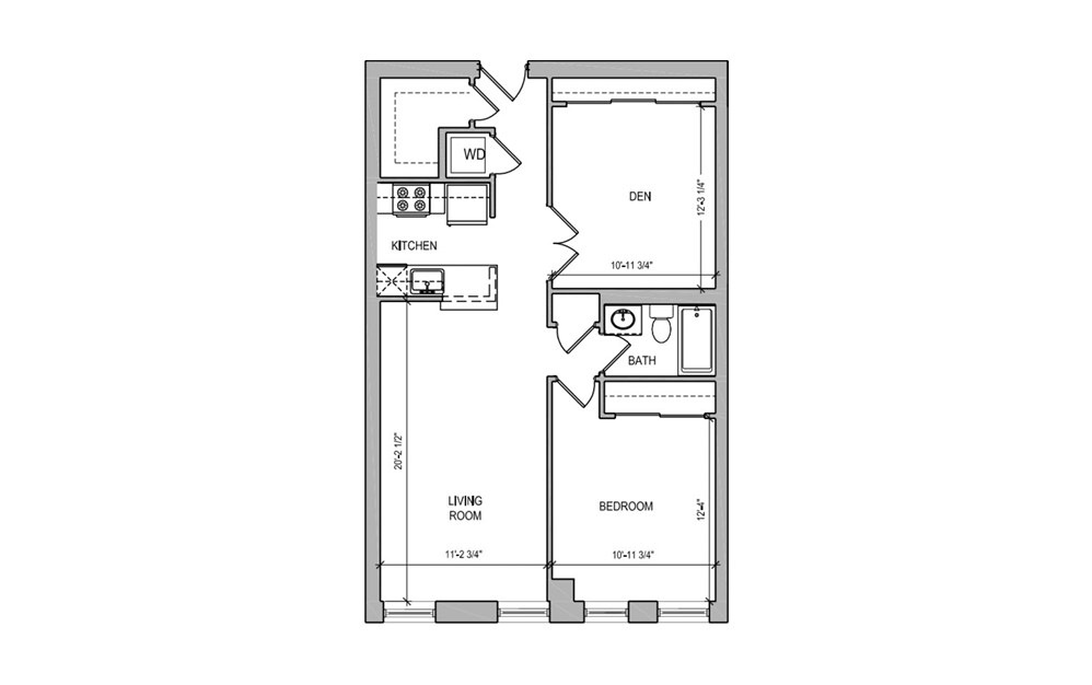 HC308 - 1 bedroom floorplan layout with 1 bath and 806 square feet.
