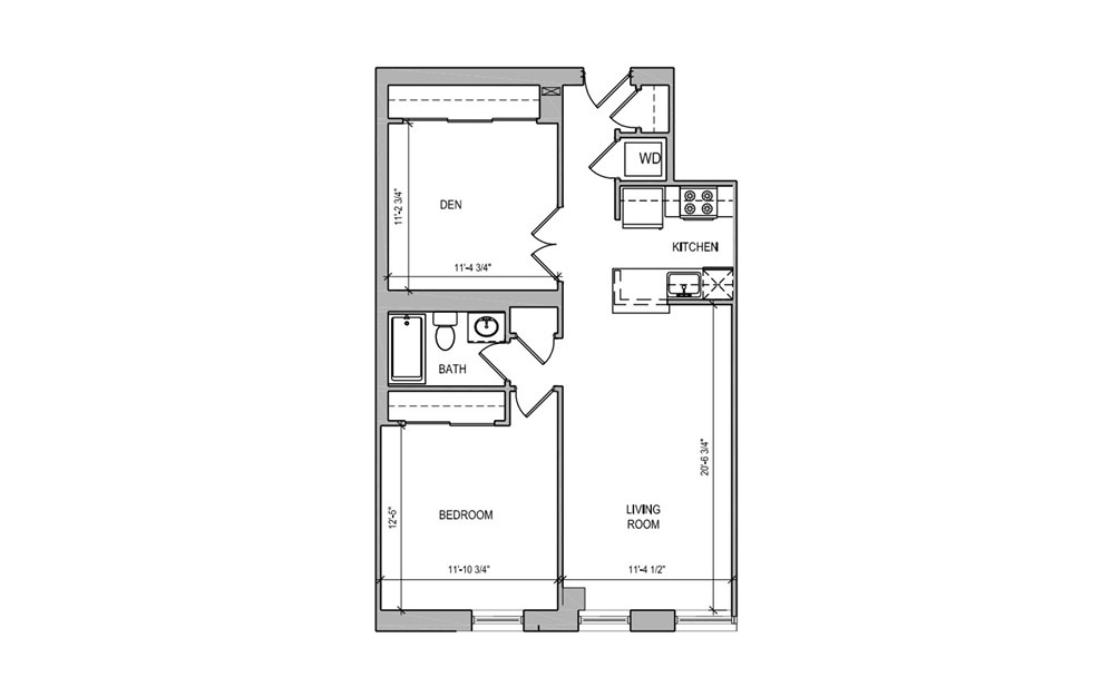 HC-10 One Bedroom/Den - 1 bedroom floorplan layout with 1 bath and 800 square feet.