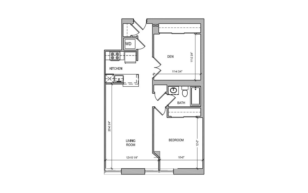 HC-12 One Bedroom/Den - 1 bedroom floorplan layout with 1 bath and 812 square feet.