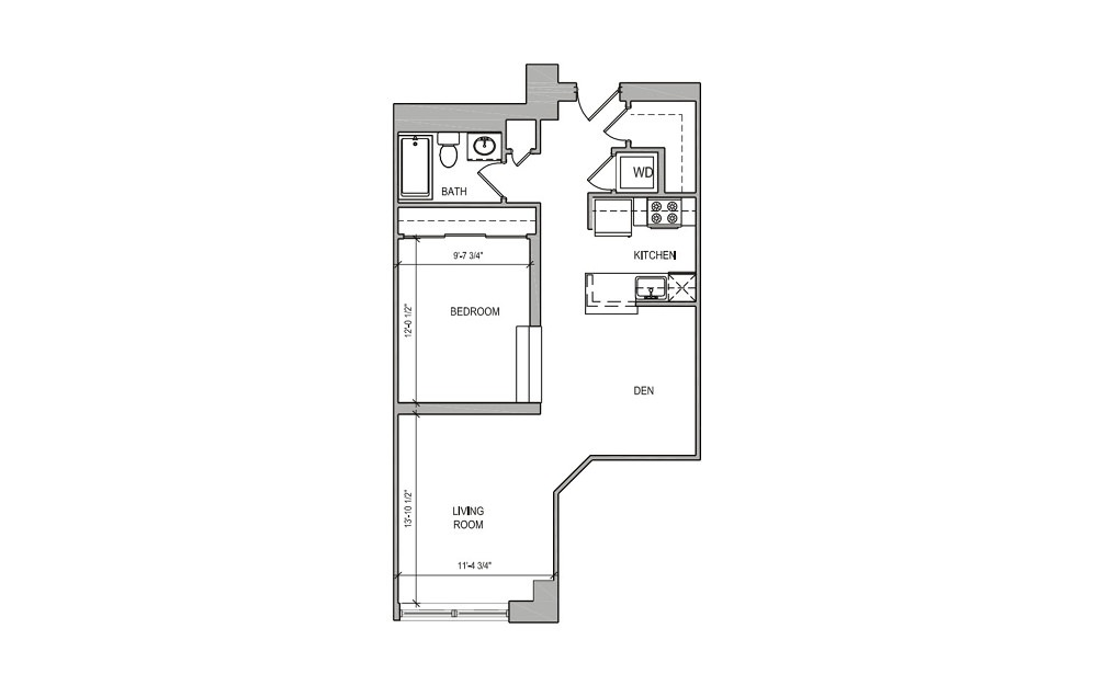 HC-14 Studio/Alcove - Studio floorplan layout with 1 bath and 676 square feet.