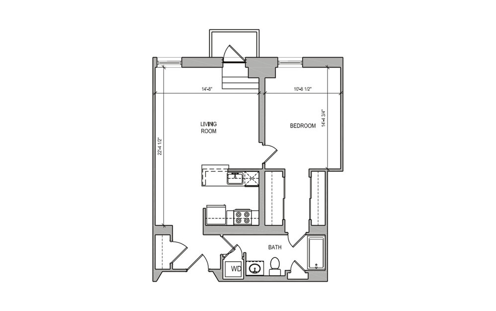 HC-09 One Bedroom - 1 bedroom floorplan layout with 1 bath and 740 square feet.