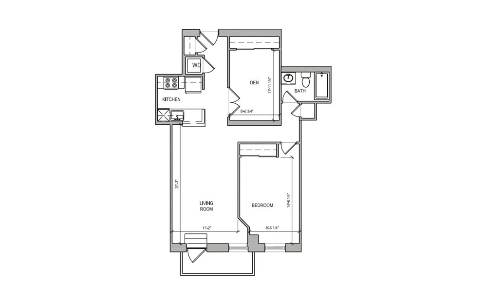HC-12 One Bedroom/Den w/Balcony - 1 bedroom floorplan layout with 1 bath and 780 square feet.