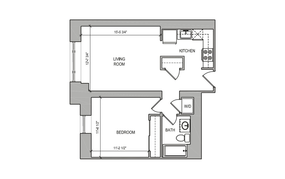 HC-01 One Bedroom  - 1 bedroom floorplan layout with 1 bath and 588 square feet.