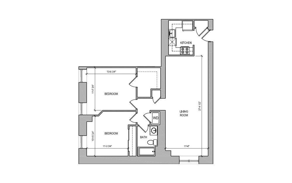 HC-02 Two Bedroom - 2 bedroom floorplan layout with 1 bath and 870 square feet.