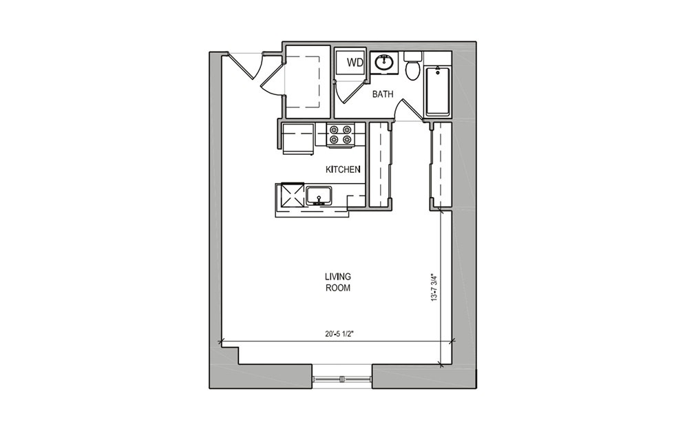 HC Studio - Studio floorplan layout with 1 bath and 570 square feet.