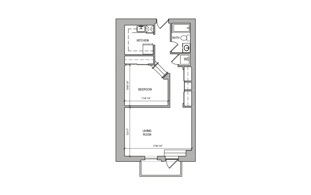 HC Studio Balcony - Studio floorplan layout with 1 bath and 636 square feet.