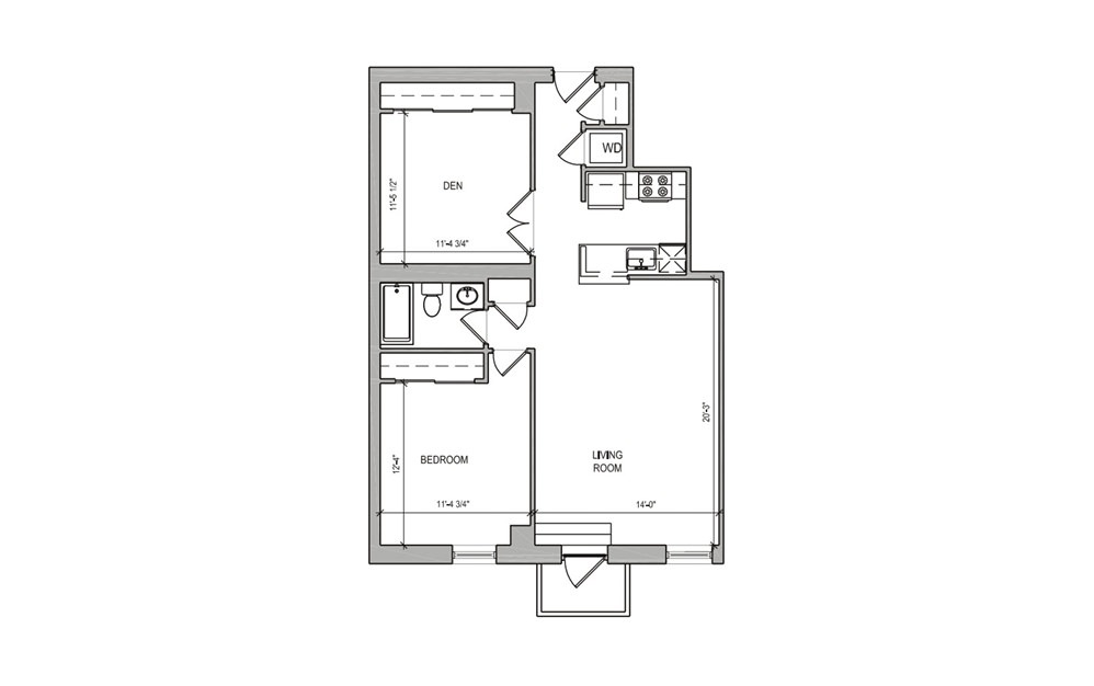 HC-10 One Bedroom/Den w/Balcony