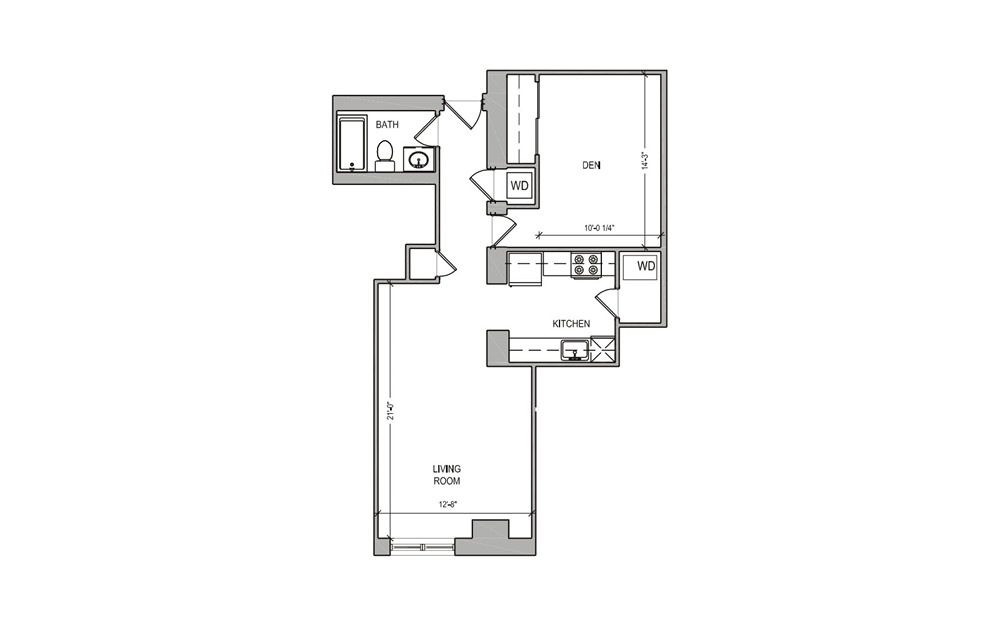 HC Studio/Den - Studio floorplan layout with 1 bath and 656 square feet.