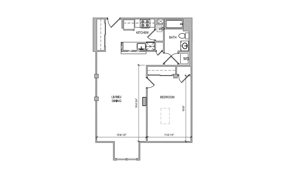 HC610 - 1 bedroom floorplan layout with 1 bath and 764 square feet.