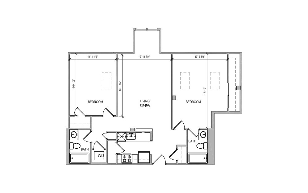 HC611 - 2 bedroom floorplan layout with 2 baths and 1016 square feet.
