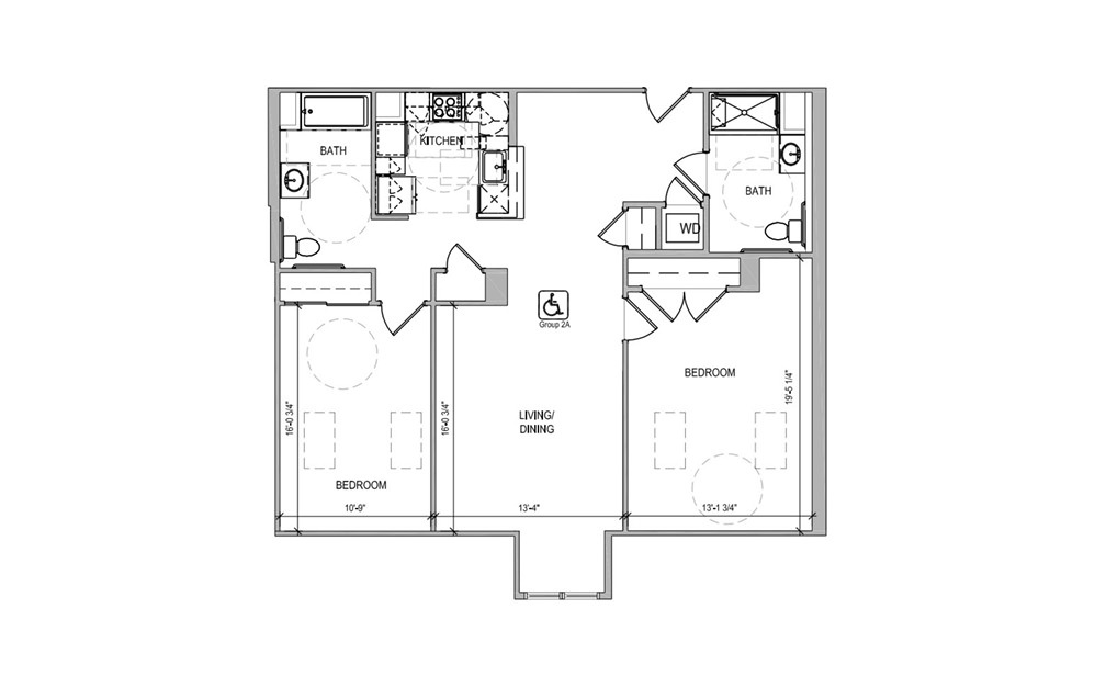 HC612 - 2 bedroom floorplan layout with 2 baths and 1210 square feet.