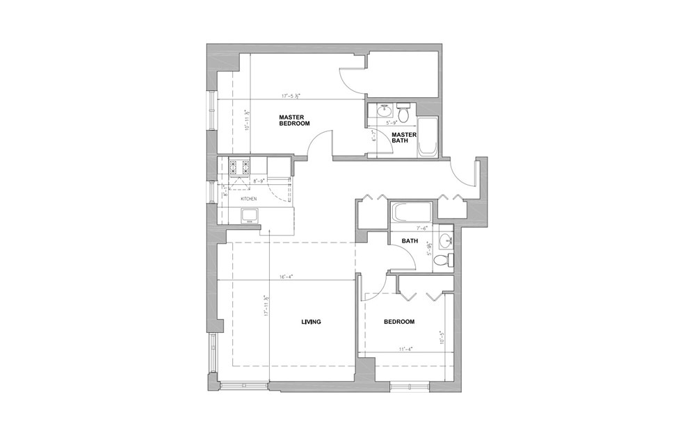 JC Concord Square - 2 bedroom floorplan layout with 2 baths and 1142 square feet.