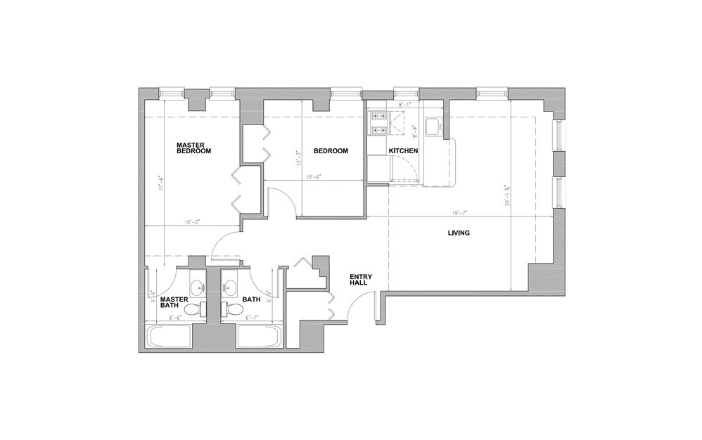 JC Copley Square - 2 bedroom floorplan layout with 2 baths and 996 square feet.