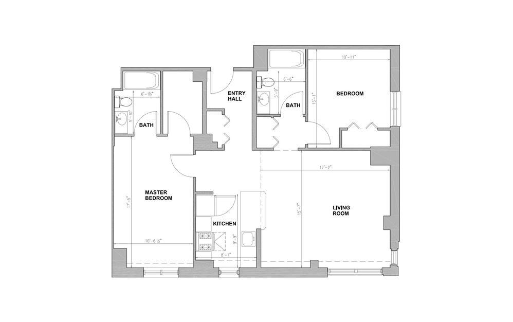 JC Franklin Square - 2 bedroom floorplan layout with 2 baths and 1010 square feet.