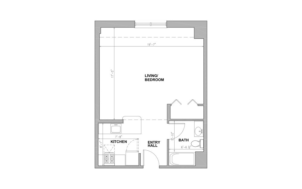 JC Tubman Square - Studio floorplan layout with 1 bath and 518 square feet.