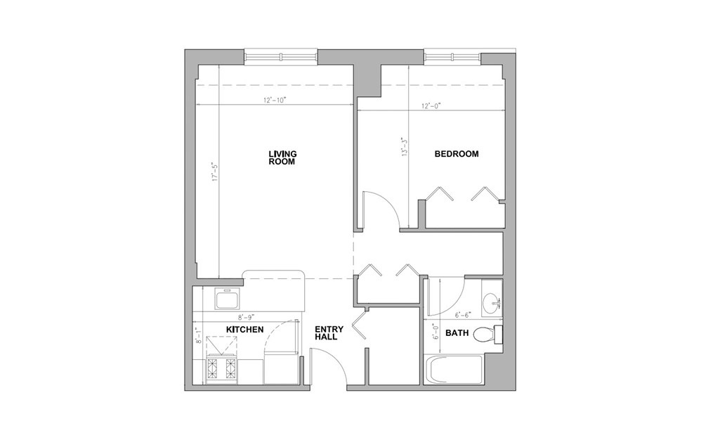 JC Union Park - 1 bedroom floorplan layout with 1 bath and 673 square feet.
