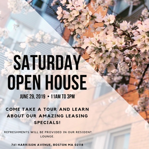 Join us for an open house Saturday, June 29th! Learn about our leasing specials and enjoy some refreshments!